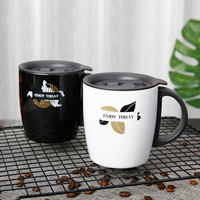 400ml European insulated coffee mug Stainless steel vacuum office cup with handle Business double coffee cup Big breakfast cup
