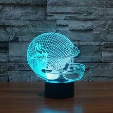 NFL Team Logo 3D Light LED Minnesota Vikings Football Helmet 7 Color LED Night Light Visual Lamp Child Christmas Gift 3447