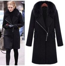 Plus Size S XXXL Women Medium Long Design Woolen Jacket Super Discounted Black Fur Collar Wool