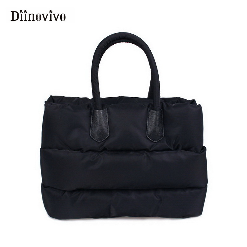 DIINOVIVO New Winter Woman Space Cotton Casual Totes Girl Soft Handbags Down Feather Padded Lady Shoulder Crossbody Bag WHDV0334 hot sale women fashion colorful light feather handbag high quality shoulder bag space down cotton padded tote bs162