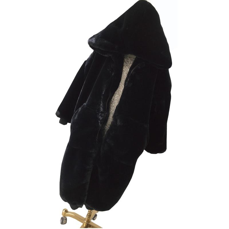 Dames Haute Nouveau Taille Fourrure Femmes Chaud Mode Long Lapin D'hiver Épaissir Manteau Manteaux La 2018 Gray dark Lp39 Black Qualité Faux Plus Rex De q7U684tw