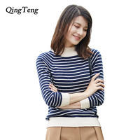QingTeng Women Sweaters And Pullovers 2017 Long Sleeve Turtleneck Cashmere Knitted Jumpers Woman Stripe Sweater Female