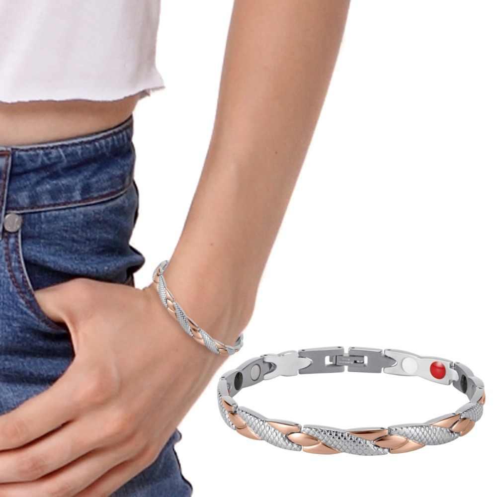 Rainso Roestvrij Staal Magnetische Armbanden & Bangles Healing Bio Charm Armbanden Voor Vrouwen Rose Gold Gepolijst OSB-692SRGFIR