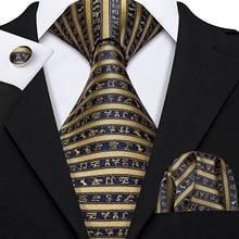 Классический Полосатый галстук с зеброй для мужчин s шелковый галстук Hanky Подарочная коробка набор жаккардовый мужской галстук золотой черный мужской галстук набор Barry.Wang LS-5173