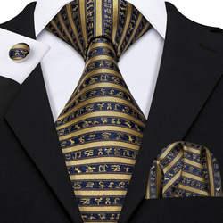 Классический Полосатый галстук для мужчин s Шелковый Галстук Hanky Подарочная коробка набор ЖАККАРД мужской галстук золотой черный мужской