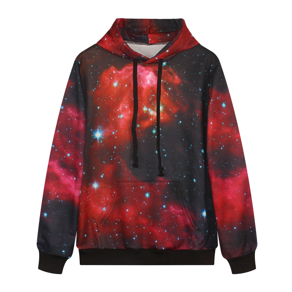 3D Print Red Galaxy Stars Hoodies Women Long-Sleeve Hoodie with hat Men Women Soft Hoodies Punk Casual Hip Pop Unisex Sweatshit