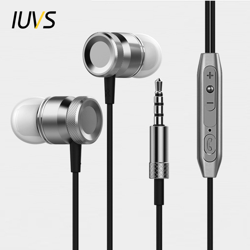 IUVS In-Ear Earphone For Phone Universal Metal Stereo Earbuds Headphones With Mic For MP3 Music In Ear Earpiece Airpods Earpods kst x2 in ear stereo earphone with metal earbuds
