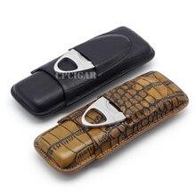 Tragbare Echtem Leder Zigarre Fall 2 Rohrhalter Reise Zigarren-humidor Box w Metall Zigarrenschneider Fit für COHIBA Zigarren