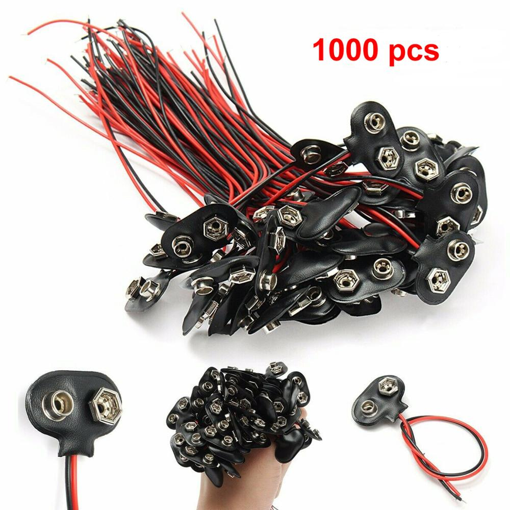 1000pc/lot 9V Battery Connector Snap Clip T Style Cable Wire Lead Holder Adapter 150mm-in Connectors from Lights & Lighting