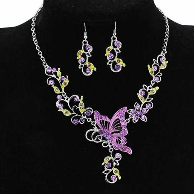 Новинка 2020, Модный комплект ювелирных изделий в виде цветка бабочки, ожерелье, серьги, стразы, подвеска, Повседневные Вечерние украшения