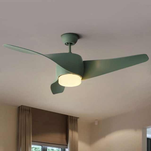 Nordic Modern Fan Lamp Minimalist Ceiling Fans Light For Living Room  Restaurant Remote Control Retro Spiral