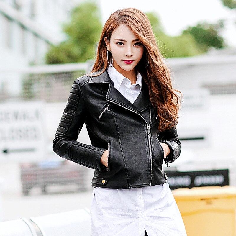 Plus Size 2XL Women's Zipper Tunic Army Jacket Coats Casual Ladies Autumn   Leather   Jackets Zip Up Biker Coats Flight Tops Clothes