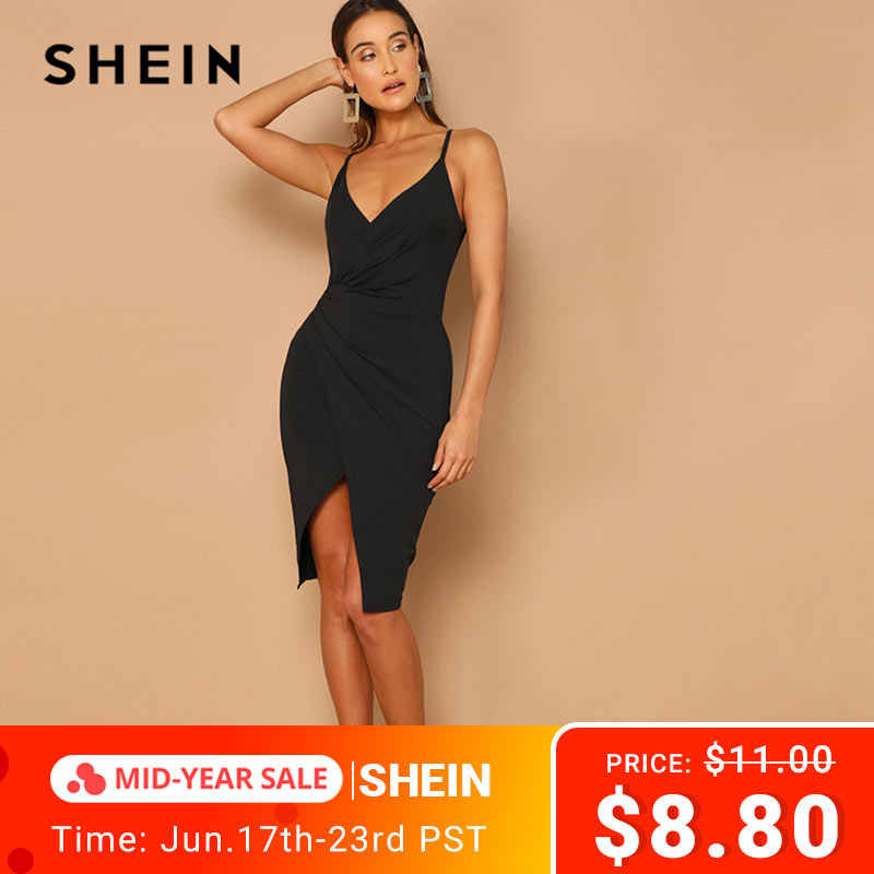 SHEIN Sexy Black Overlap Split Front Backless Bodycon Summer Midi Cami Dress Women Straps V Neck Wrap Sheath Club Slim Dresses
