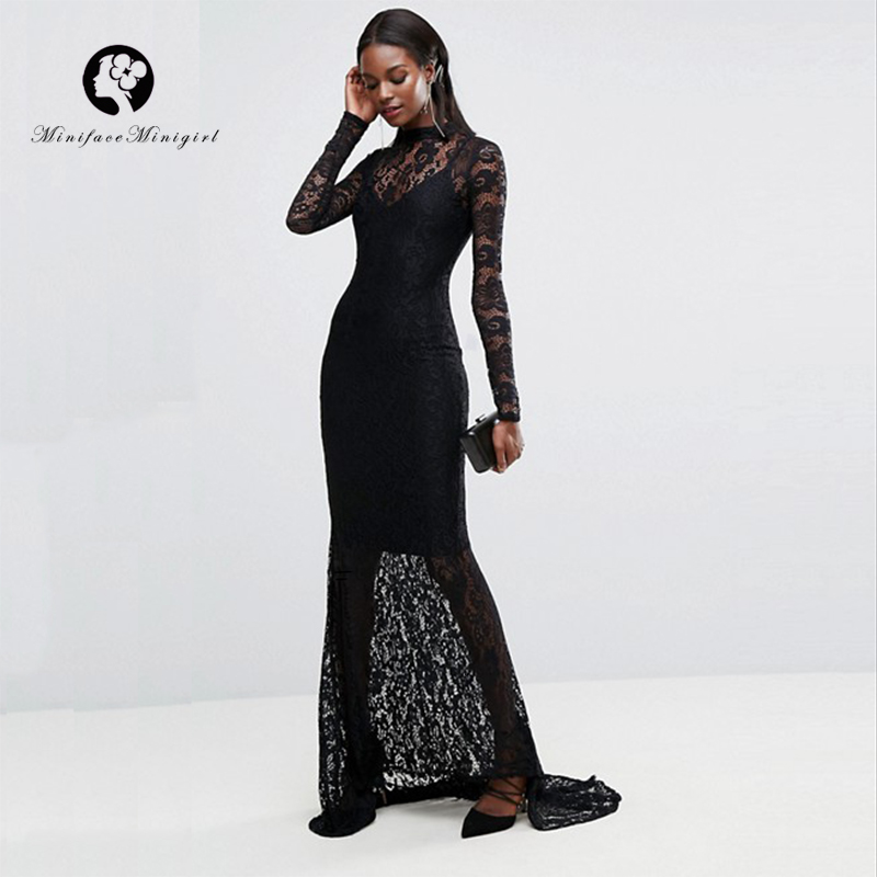 Black Women Lace <font><b>Dress</b></font> <font><b>2018</b></font> Summer <font><b>Sexy</b></font> See Through Backless Eleagnt Bodycon <font><b>Dresses</b></font> <font><b>Luxury</b></font> Long Party Vestidos <font><b>Dress</b></font> image