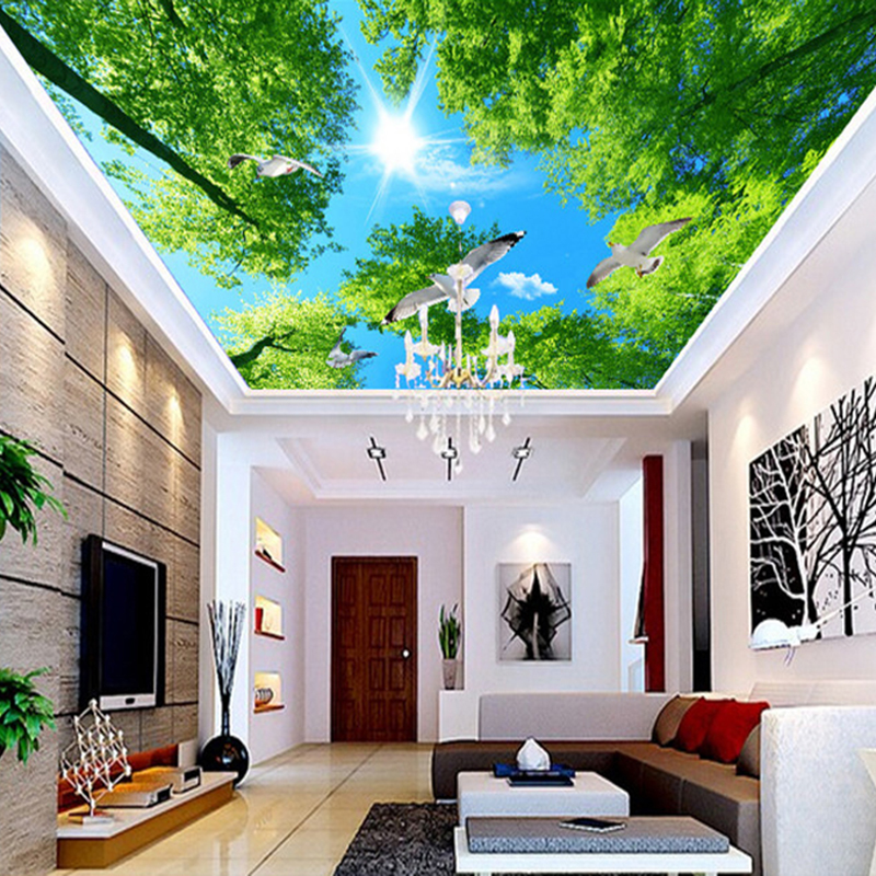 ceiling living mural improvement wall dove murals hotel sky background backdrop sunshine tree forest wallpapers fresco covering pigeon custom aliexpress
