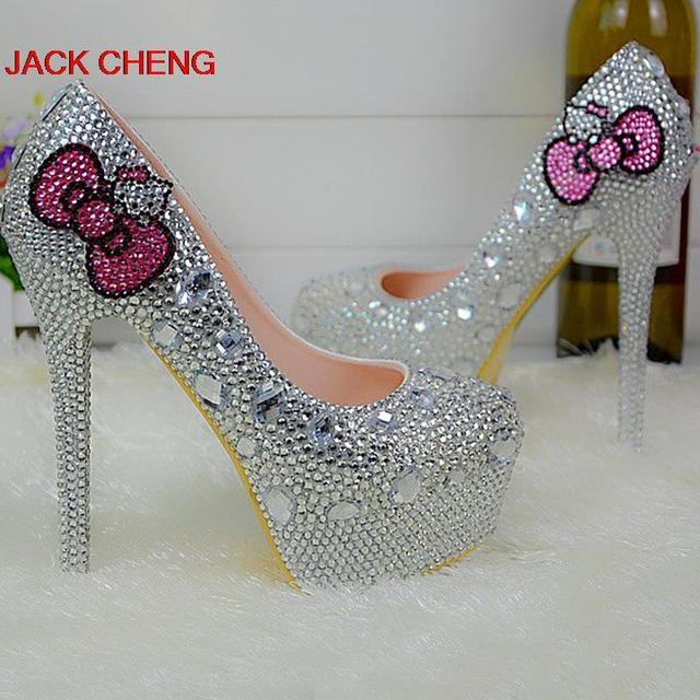 Silver Rhinestone High Heel Shoes Formal Dress Pumps Round Toe ...