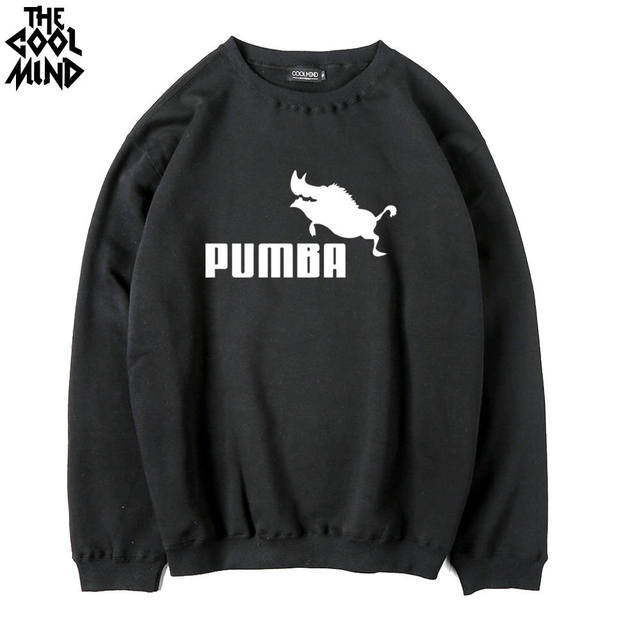 1579de30f8f7 THE COOLMIND Cotton blend fleece thick men crewneck sweatshirts casual cool  fashion PUMBA printed mens hooides and sweatshirts