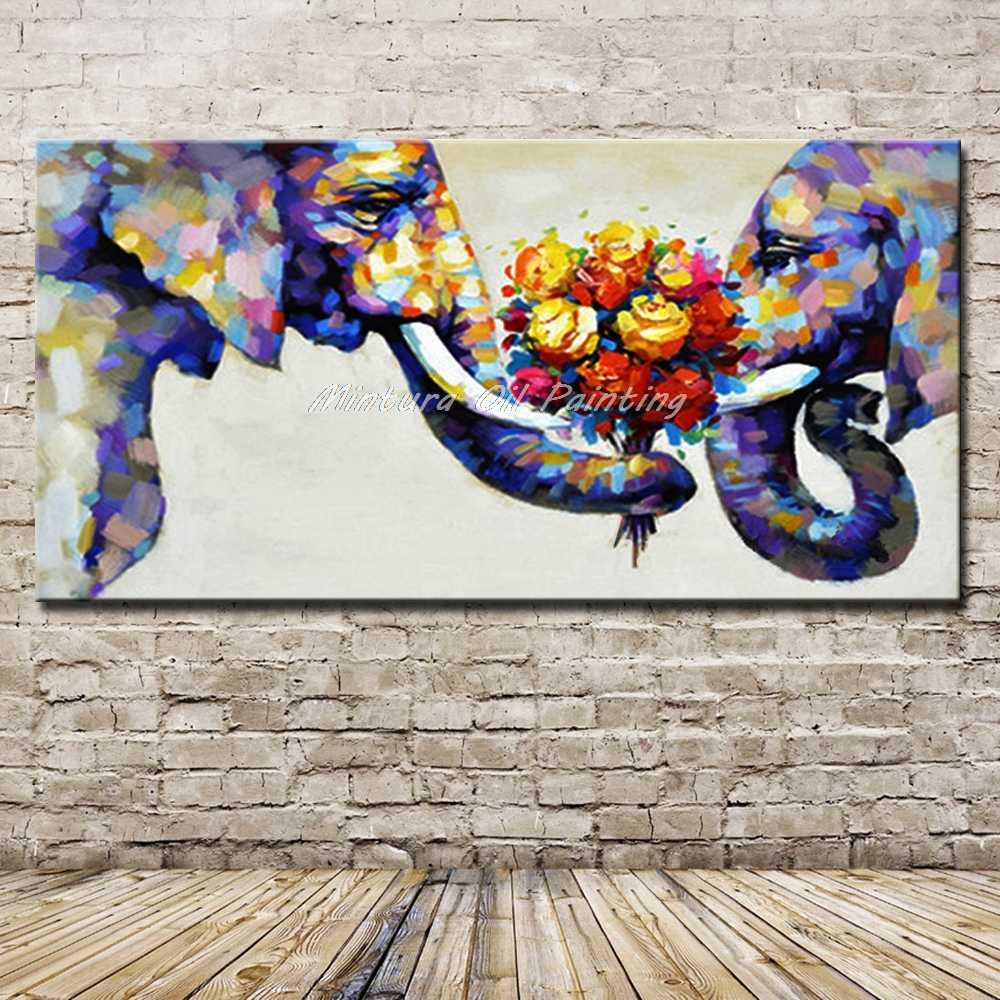 Hand Painted Abstract Elephant Couples Animal Family Oil Paintings On Canvas Children's Room Wall Picture For Living Room Decor