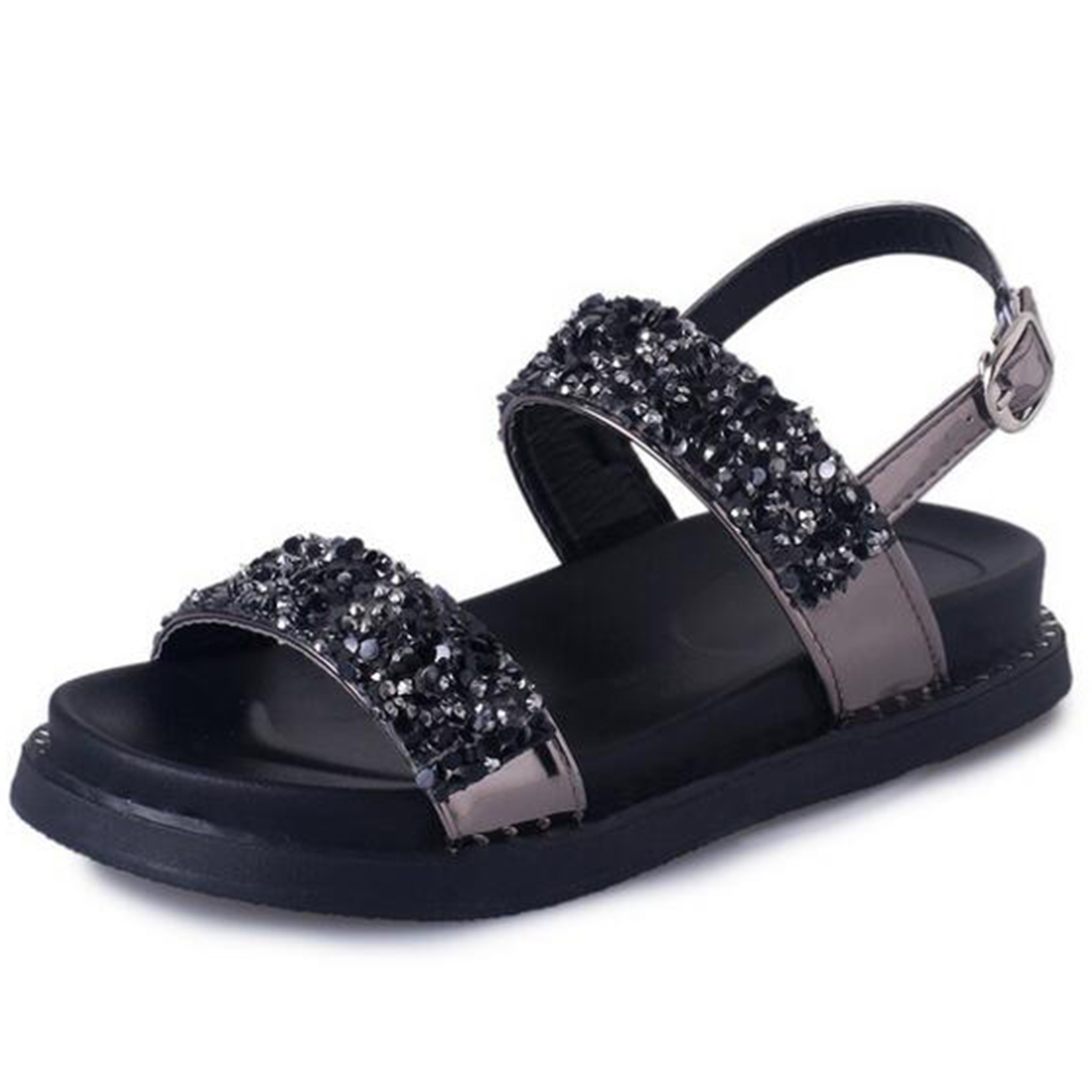 Black sandals bling - Shoes Women Sandals Summer New Sweet Bling Crystal Zapatos Mujer Sweet Flat Toe Wedge Stripe Floral