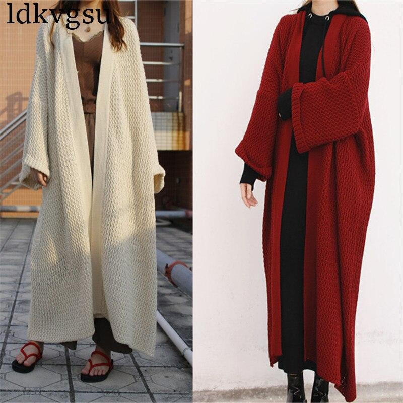 Kadın Giyim'ten Hırkalar'de 2019 Yeni Moda Batwing Kollu Uzun Hırka Trençkot Kadın Gevşek Büyük Boy Örgü Ilkbahar Sonbahar Kazak Elbise V37'da  Grup 1