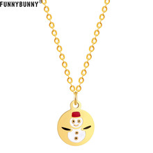 FUNNYBUNNY Women Christmas Pendant Necklace Snowman Tiny Round Design Fashion Jewelry Gift Party favors pinjeas tiny necklace handmade sterling sign 8 infinity pendant new fashion jewelry for women christmas birthday