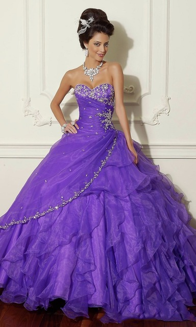 5da34947b64 Silvery Crystals Quinceanera Girls 15 Years Old Dress For 16 Sweet 16 Prom  Sweetheart Purple Ball