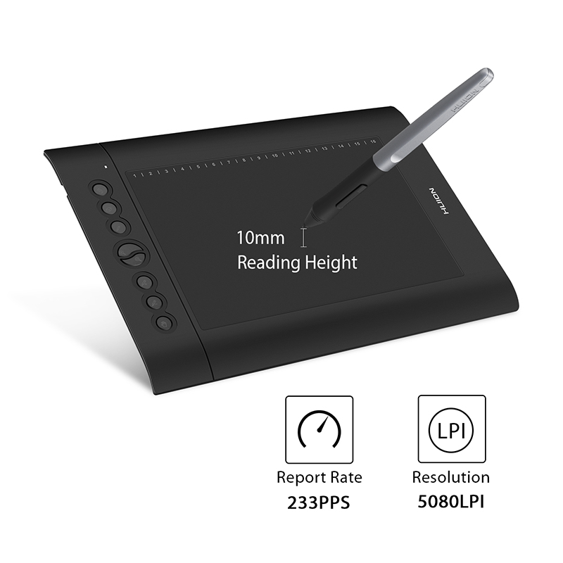 HUION H610 PRO V2  Graphic Drawing Digital Tablet 8192 Levels ±60° Tilt Function Battery-Free Pen  with 8 Press 16 Soft Keys