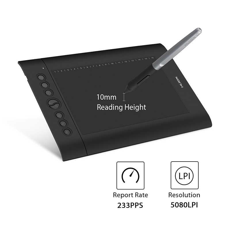 HUION H610 برو V2 الجرافيك الرسم الرقمي اللوحي 8192 مستويات ± 60 ° الميل وظيفة بطارية-شحن القلم مع 8 الصحافة 16 مفاتيح لينة