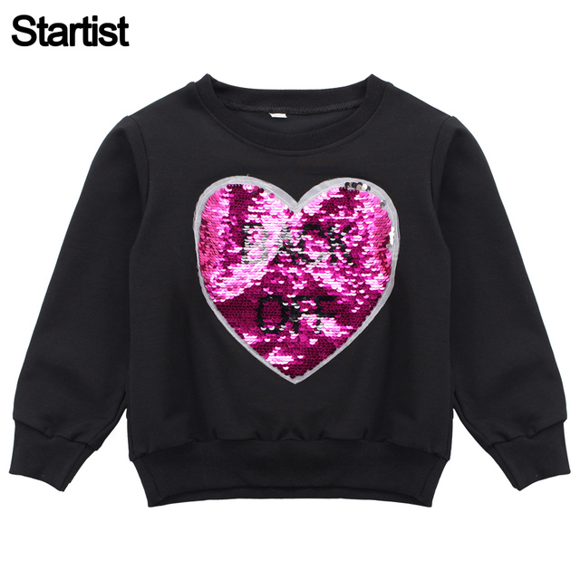 T-Shirts For Girls Changble Heart Sequins Girl Sweatshirt   Hooded Fashion Kids  T Shirt Teenage Clothes For Children 6 8 10 12 7efc42120533