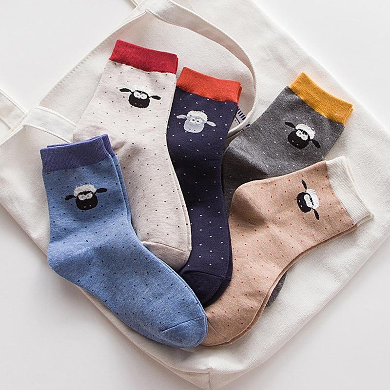Теплые Для женщин носки хлопок Мода Harajuku Носок Овцы Шон принт животный принт горошек носки Для женщин Happy Смешные Носки