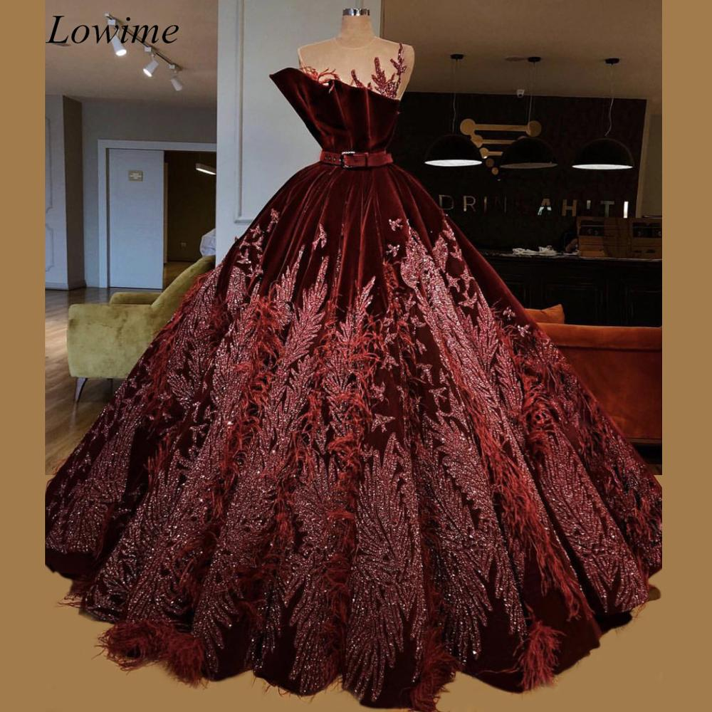 Luxury Dark Burgundy Celebrity Dresses 2019 Sheer Neck Velvet Arabic Evening Red Carpet Prom Party Gowns With Sash Feathers