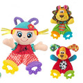 Infants Dolls with Teether Juguetes bebe Brinquedos Lion Rabbit Girl Handkerchief Soft Plush Toy