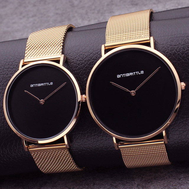 Luxury Black Ultra Thin Rose Gold Man Watch Woman Fashion Japan Quartz Simple Leather Magnet Mesh Stainless Steel Waterproof New