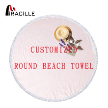 Miracille Customized Round Beach Tower Printed Your Own Image Microfiber Polyester Fabric Tassel Towel