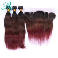 Riya Hair 1b/4/99j Ombre Remy Hair Straight Hair Extension 3/4 Bundles With 13* 4 Lace Frontal Brazilian Human Hair