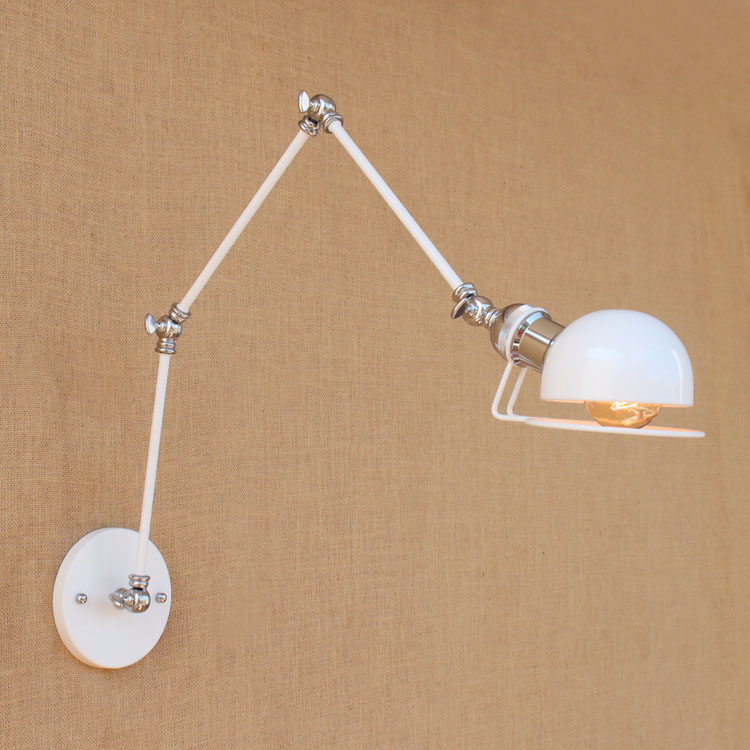 white adjustable swing long long arm wall lights fixtures loft industrial wall wall lamp. Black Bedroom Furniture Sets. Home Design Ideas