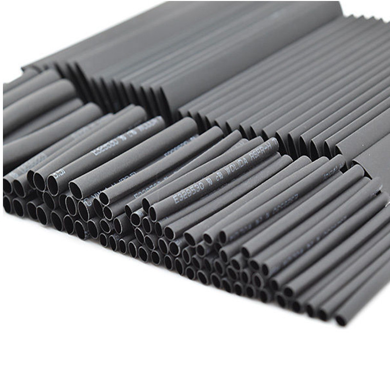 127pcs/set Black Assortment Polyolefin Halogen-Free Heat Shrink Tubing Assortment Tube Sleeving Wire Cable Kit Ratio 2:1 200meter set 3 5mm pvc heat shrink tube ratio 2 1 sleeving for insulating connector