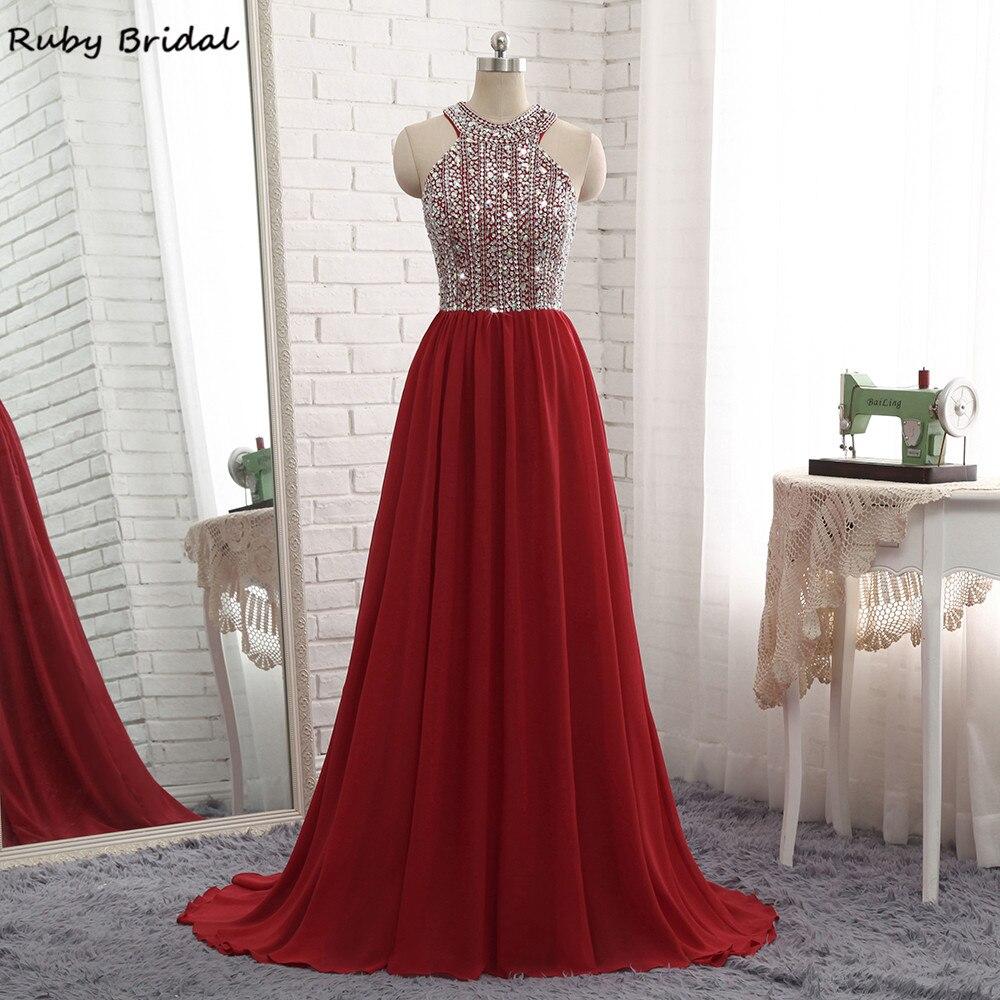 Ruby Bridal 2017 Vestidos De Fiesta Burgundy Chiffon Beaded Top Prom Dress Luxury A line Cheap