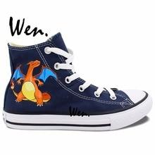 Wen Anime Blue Hand Painted Shoes Design Custom Pocket Monster Pokemon Charizard Dragon High Top Men Women's Canvas Sneakers