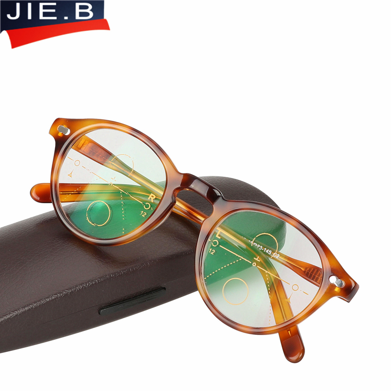 Acetate Multi Focal Progressive Reading Glasses Men Women Diopter Presbyopic Eyeglasses 1.0 1.25