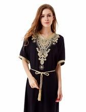 Müslüman hanımefendiler Uzun kollu Dubai Elbise maxi abaya jalabiya İslam hanım elbise giyim robe kaftan Fas moda embroidey1605