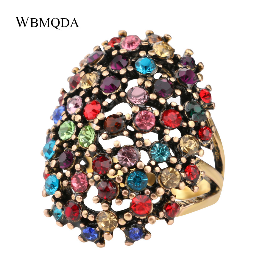 Hot Vintage Bohemian Statement Jewelry Fashion Big Colored Crystal Ring Gold Love Engagement