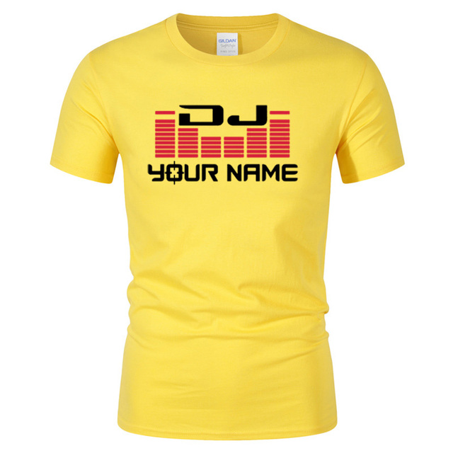 DJ Your Name Men's Custom printing T Shirt Camiseta Hombre Hip Hop Fashion men's Cotton Casual Short Sleeve T-shirt Plus Size