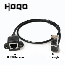 Up Down Angled 90 Degree Angle 8P8C FTP STP UTP Cat 5e RJ45 Panel Mount Male to Female Extension Cable Lan Ethernet Network Cord