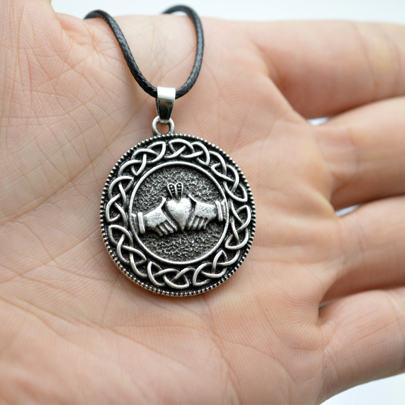 Chat Collier Trinity Knot Celtic pendentif amulette large Punk-Viking Animal Bijoux