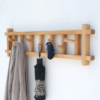 collalily Nordic wooden Modern Design Wall Door clothes Robe Hook Coat Racks for corridor Hook Rails Decor Japanese American