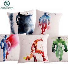 RUBYLOVE Watercolor Superman Captain America Cushion Cover Batman Home Decorative Pillow Case Office Car Sofa Decor