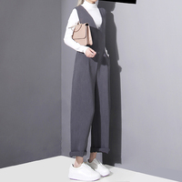 TWOTWINSTYLE 2016 Spring New Women Vest Jumpsuits V Neck Female Straight Long Pants