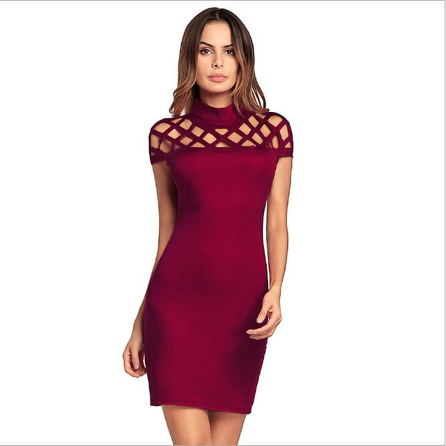 a0f03ef0ed89 2018 Hollow Solid Color Bodycon Dress Sexy Slim Blue Green Black Red Big  Size Women s Dress Sexy Package Hip Dress Summer XXL