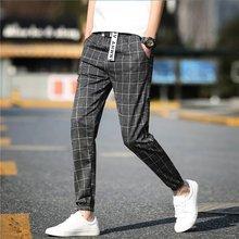 2019 Casual Plaid Ankle-Length Pants Men Trousers